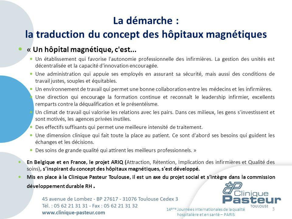 La démarche : la traduction du concept des hôpitaux magnétiques « Un hôpital magnétique, c'est... Un établissement qui favorise l'autonomie profession