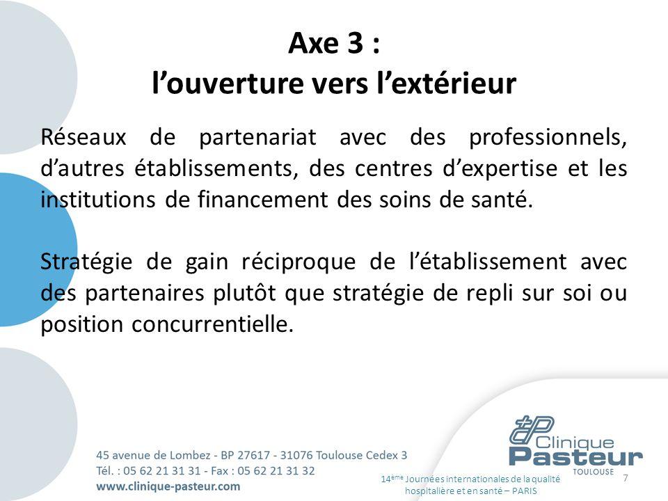 Axe 3 : louverture vers lextérieur Réseaux de partenariat avec des professionnels, dautres établissements, des centres dexpertise et les institutions