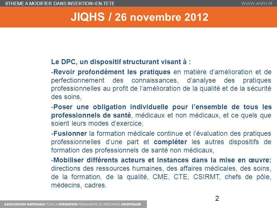 6THEME A MODIFIER DANS INSERTION>EN-TETE JIQHS / 26 novembre 2012 Le DPC, un dispositif structurant visant à : -Revoir profondément les pratiques en m