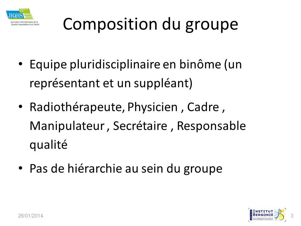 3 Composition du groupe Equipe pluridisciplinaire en binôme (un représentant et un suppléant) Radiothérapeute, Physicien, Cadre, Manipulateur, Secréta