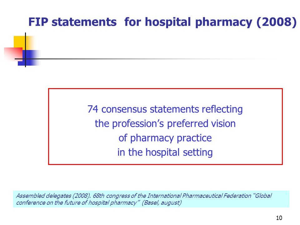 10 FIP statements for hospital pharmacy (2008) 74 consensus statements reflecting the professions preferred vision of pharmacy practice in the hospital setting Assembled delegates (2008).