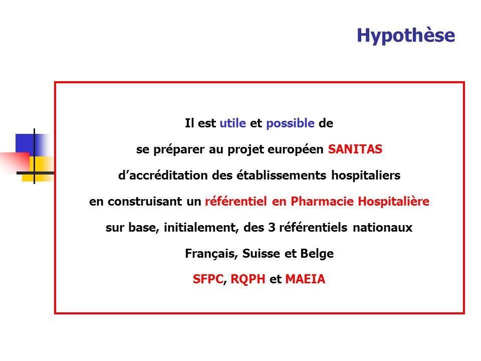 Hypothèse Il est utile et possible de se préparer au projet européen SANITAS daccréditation des établissements hospitaliers en construisant un référentiel en Pharmacie Hospitalière sur base, initialement, des 3 référentiels nationaux Français, Suisse et Belge SFPC, RQPH et MAEIA