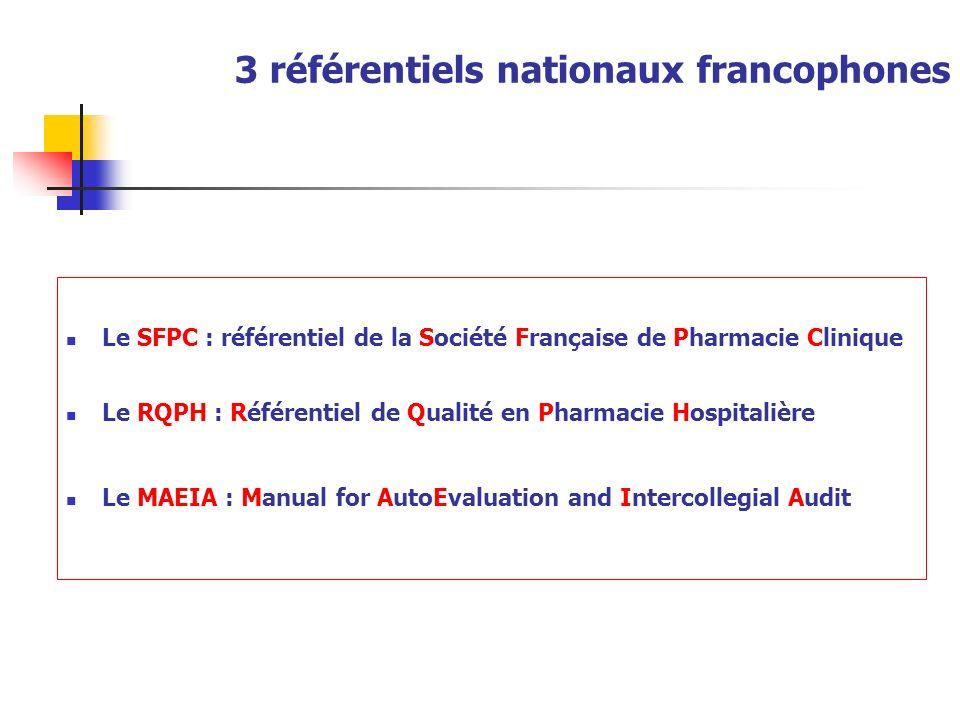 3 référentiels nationaux francophones Le SFPC : référentiel de la Société Française de Pharmacie Clinique Le RQPH : Référentiel de Qualité en Pharmaci