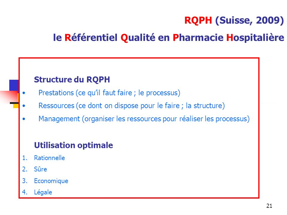 21 RQPH (Suisse, 2009) le Référentiel Qualité en Pharmacie Hospitalière Structure du RQPH Prestations (ce quil faut faire ; le processus) Ressources (ce dont on dispose pour le faire ; la structure) Management (organiser les ressources pour réaliser les processus) Utilisation optimale 1.Rationnelle 2.Sûre 3.Economique 4.Légale