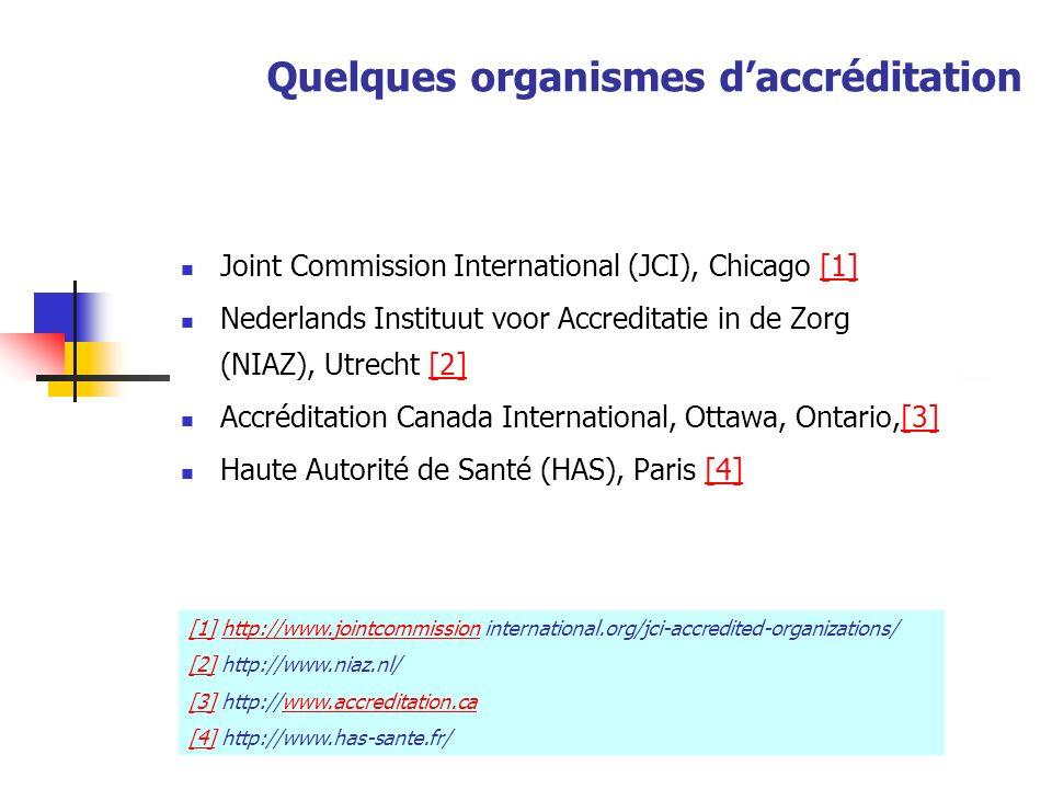 Quelques organismes daccréditation Joint Commission International (JCI), Chicago [1][1] Nederlands Instituut voor Accreditatie in de Zorg (NIAZ), Utre