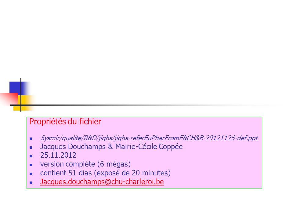 Propriétés du fichier Sysmir/qualite/R&D/jiqhs/jiqhs-referEuPharFromF&CH&B-20121126-def.ppt Jacques Douchamps & Mairie-Cécile Coppée 25.11.2012 versio