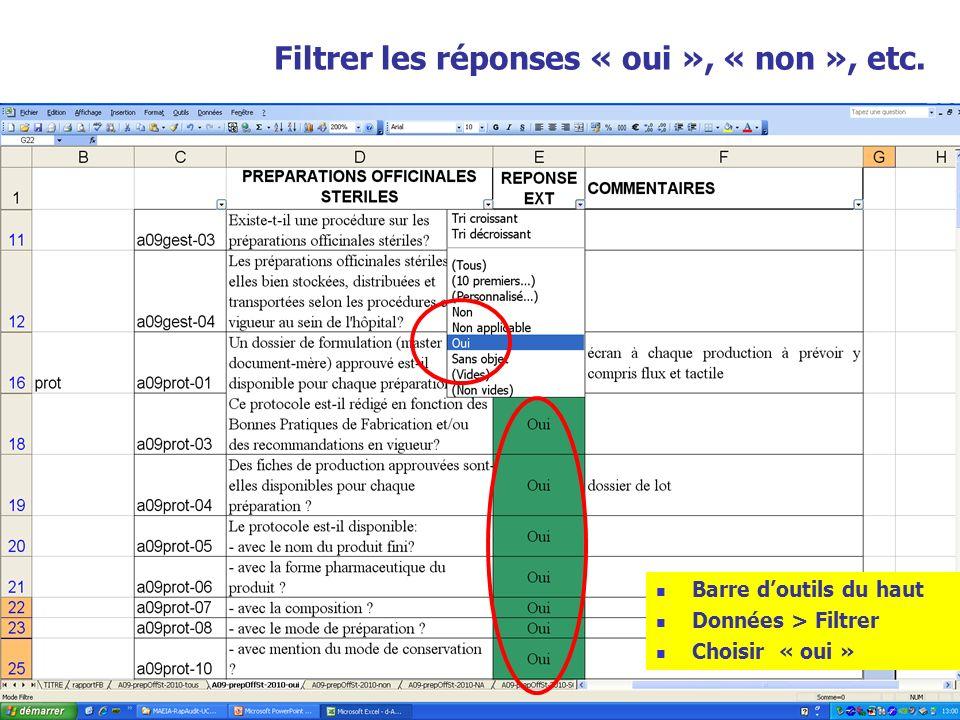 47 Filtrer les réponses « oui », « non », etc. Barre doutils du haut Données > Filtrer Choisir « oui »