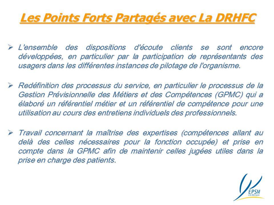 Les Points Forts Partagés avec La DRHFC L ensemble des dispositions d écoute clients se sont encore développées, en particulier par la participation de représentants des usagers dans les différentes instances de pilotage de l organisme.