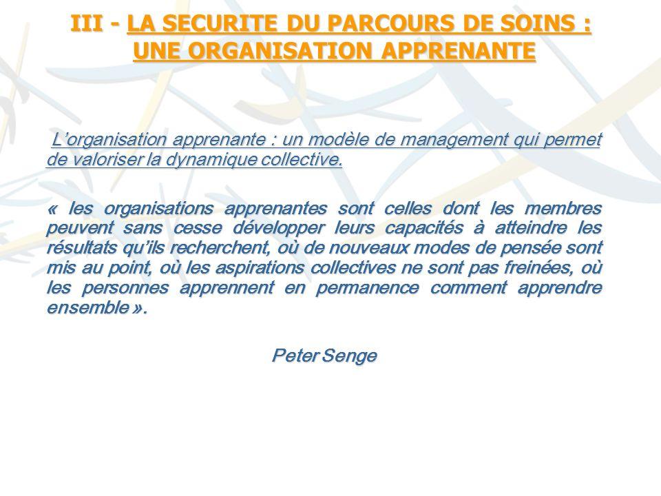 III - LA SECURITE DU PARCOURS DE SOINS : UNE ORGANISATION APPRENANTE Lorganisation apprenante : un modèle de management qui permet de valoriser la dynamique collective.