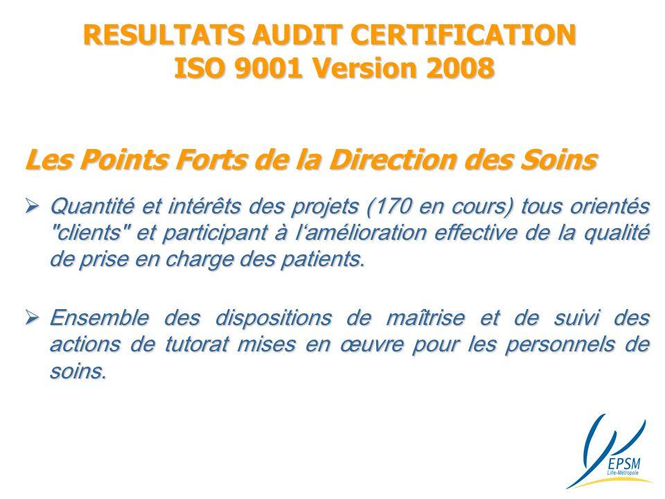RESULTATS AUDIT CERTIFICATION ISO 9001 Version 2008 Quantité et intérêts des projets (170 en cours) tous orientés clients et participant à lamélioration effective de la qualité de prise en charge des patients.