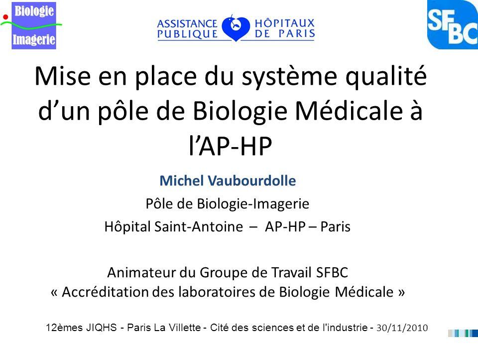Mise en place du système qualité dun pôle de Biologie Médicale à lAP-HP Michel Vaubourdolle Pôle de Biologie-Imagerie Hôpital Saint-Antoine – AP-HP –