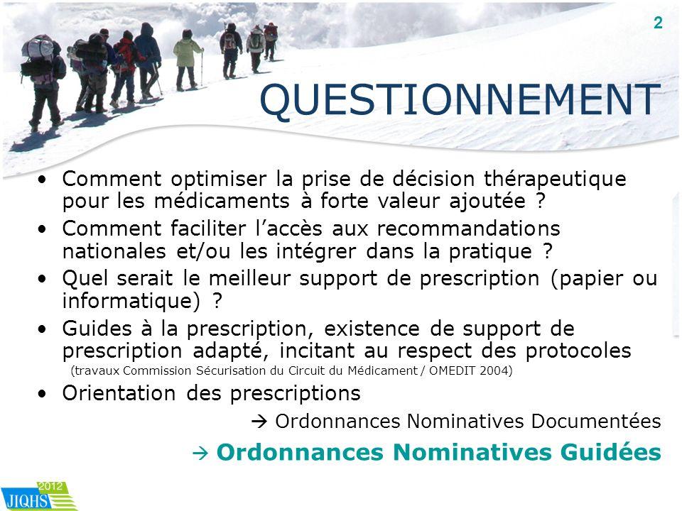 QUESTIONNEMENT Comment optimiser la prise de décision thérapeutique pour les médicaments à forte valeur ajoutée ? Comment faciliter laccès aux recomma