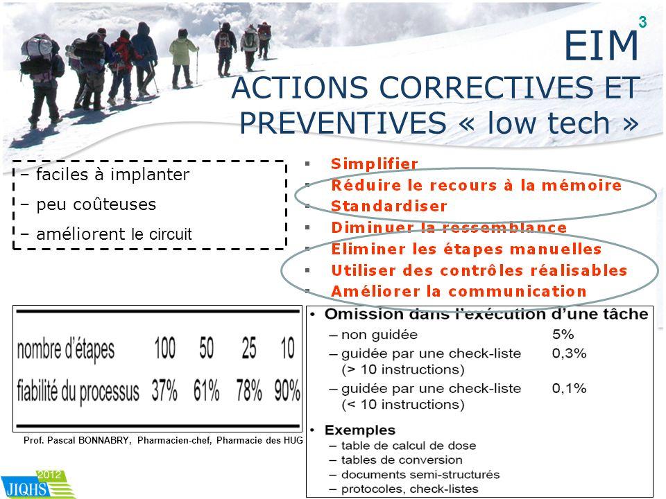 EIM ACTIONS CORRECTIVES ET PREVENTIVES « low tech » – faciles à implanter – peu coûteuses – améliorent le circuit Prof. Pascal BONNABRY, Pharmacien-ch