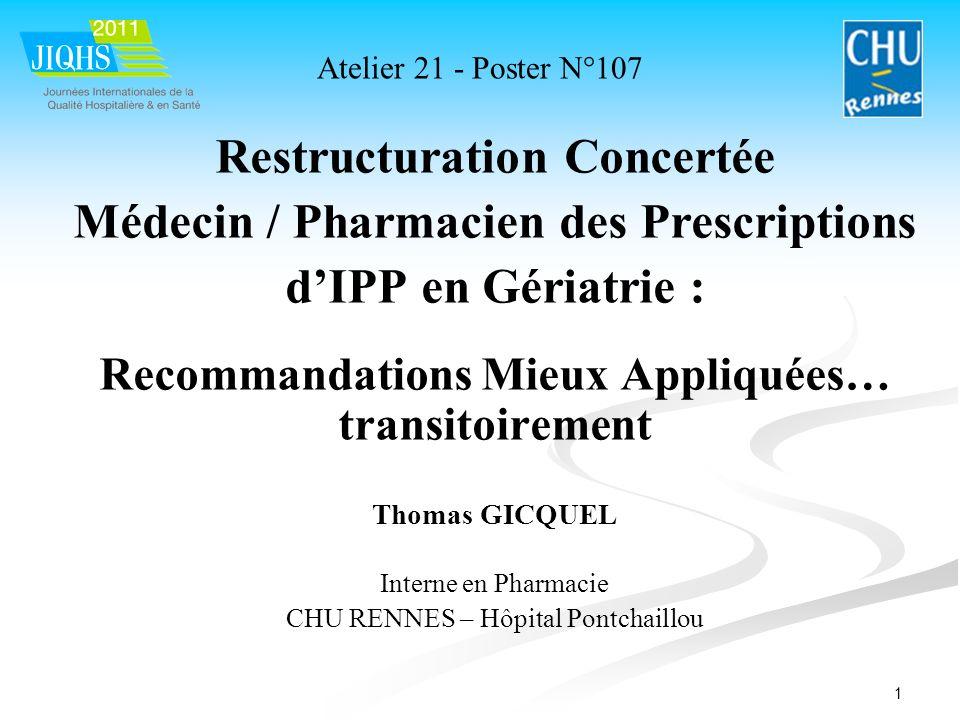 1 Restructuration Concertée Médecin / Pharmacien des Prescriptions dIPP en Gériatrie : Recommandations Mieux Appliquées… transitoirement Thomas GICQUE