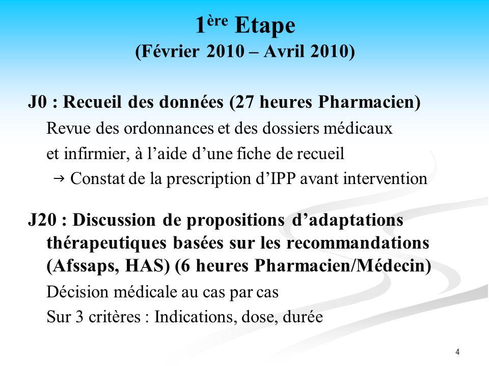 4 1 ère Etape (Février 2010 – Avril 2010) J0 : Recueil des données (27 heures Pharmacien) Revue des ordonnances et des dossiers médicaux et infirmier,