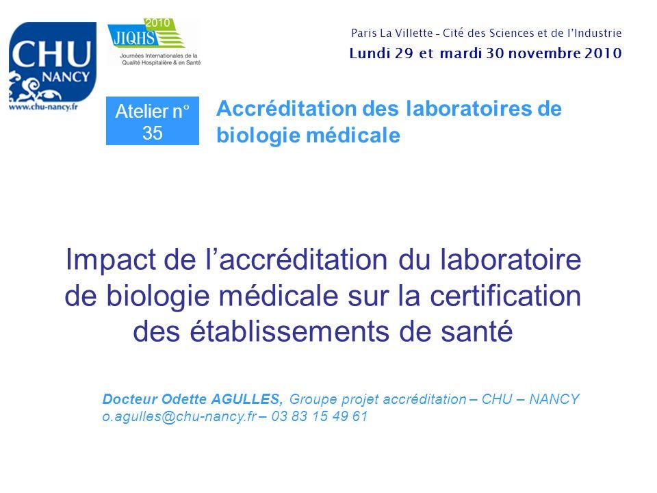 Impact de laccréditation du laboratoire de biologie médicale sur la certification des établissements de santé Atelier n° 35 Accréditation des laborato