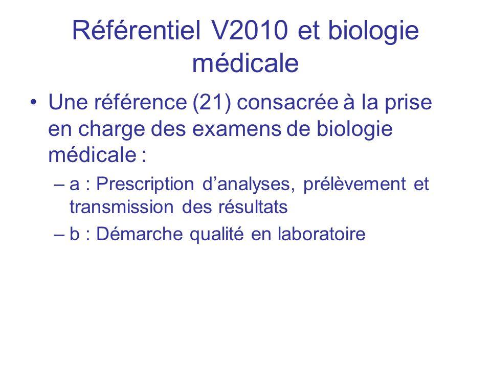 Référentiel V2010 et biologie médicale Une référence (21) consacrée à la prise en charge des examens de biologie médicale : –a : Prescription danalyse