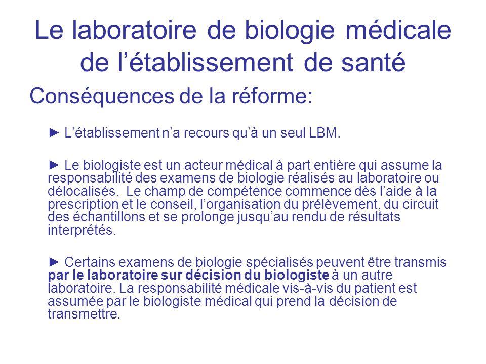 Le laboratoire de biologie médicale de létablissement de santé Conséquences de la réforme: Létablissement na recours quà un seul LBM. Le biologiste es