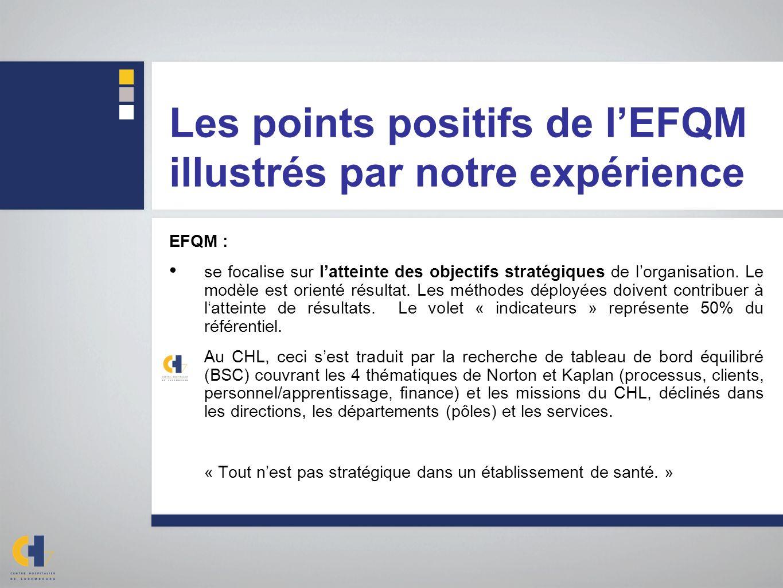 Les points positifs de lEFQM illustrés par notre expérience EFQM : se focalise sur latteinte des objectifs stratégiques de lorganisation. Le modèle es