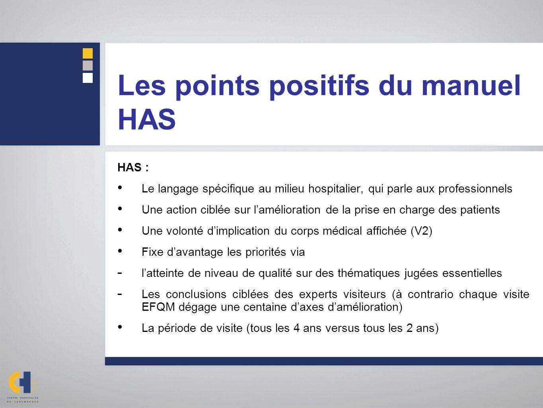 Les points positifs du manuel HAS HAS : Le langage spécifique au milieu hospitalier, qui parle aux professionnels Une action ciblée sur lamélioration