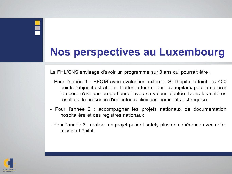 Nos perspectives au Luxembourg La FHL/CNS envisage davoir un programme sur 3 ans qui pourrait être : - Pour lannée 1 : EFQM avec évaluation externe. S
