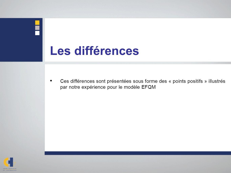 Les différences Ces différences sont présentées sous forme des « points positifs » illustrés par notre expérience pour le modèle EFQM