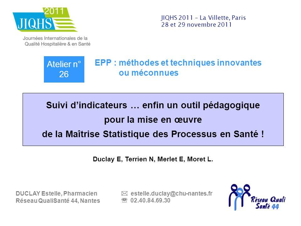 «Pour lamélioration de la qualité, la gestion des risques et lévaluation en santé en Loire Atlantique» JIQHS 2011 – La Villette, Paris 28 et 29 novemb