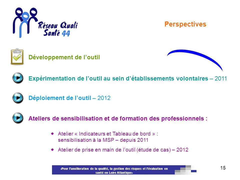 «Pour lamélioration de la qualité, la gestion des risques et lévaluation en santé en Loire Atlantique» 15 Perspectives Ateliers de sensibilisation et