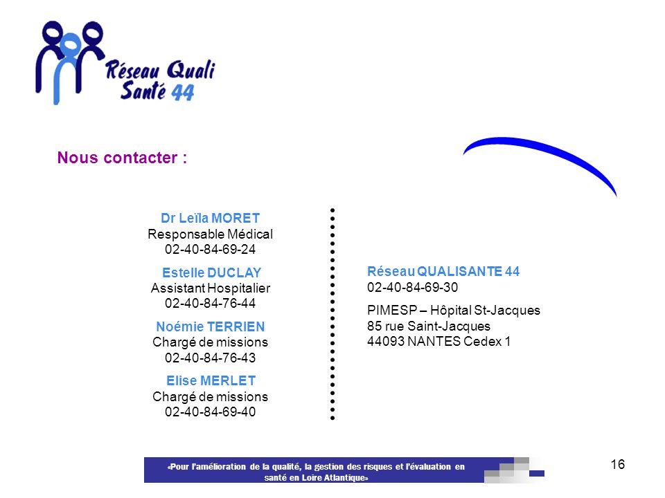 «Pour lamélioration de la qualité, la gestion des risques et lévaluation en santé en Loire Atlantique» 16 Dr Leïla MORET Responsable Médical 02-40-84-