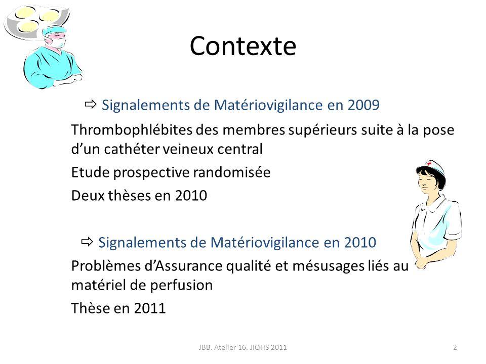 Contexte Signalements de Matériovigilance en 2009 Thrombophlébites des membres supérieurs suite à la pose dun cathéter veineux central Etude prospecti