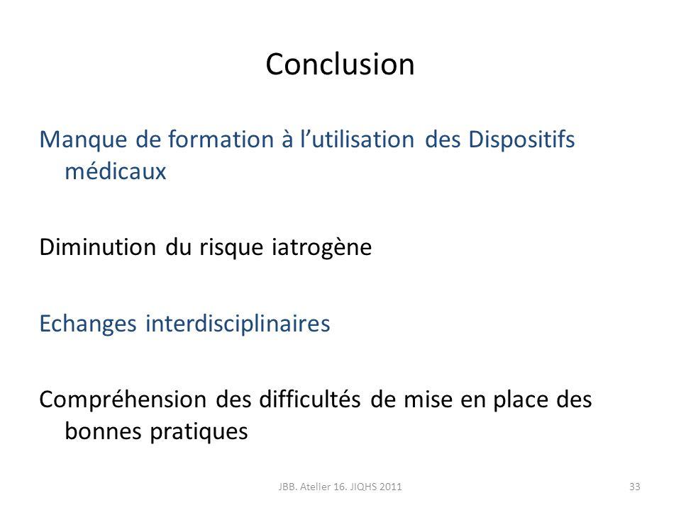 Conclusion Manque de formation à lutilisation des Dispositifs médicaux Diminution du risque iatrogène Echanges interdisciplinaires Compréhension des d