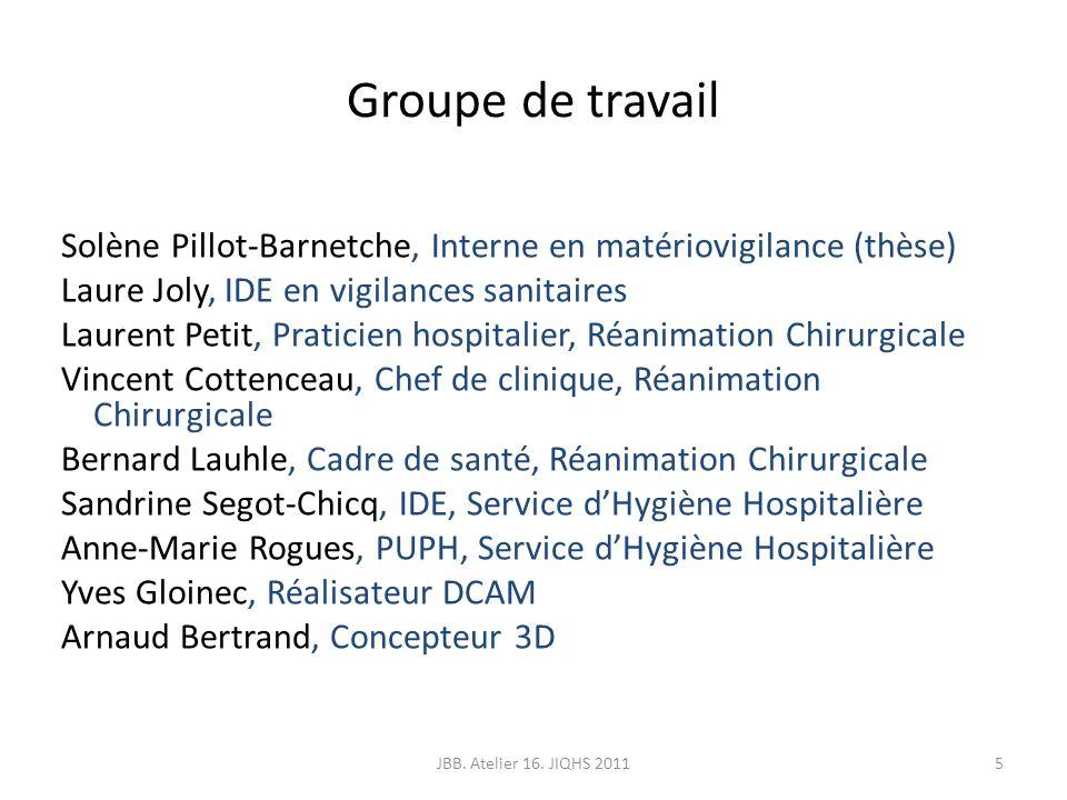 Groupe de travail Solène Pillot-Barnetche, Interne en matériovigilance (thèse) Laure Joly, IDE en vigilances sanitaires Laurent Petit, Praticien hospi