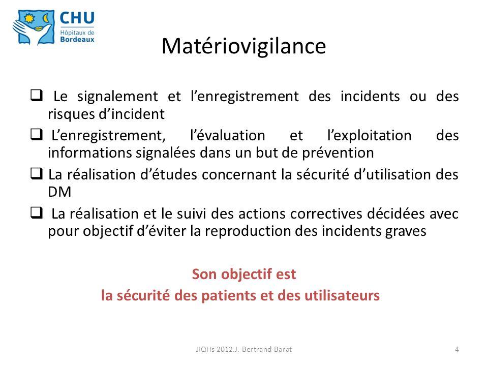 15 Matériovigilance et Bonnes Pratiques JIQHs 2012.J. Bertrand-Barat