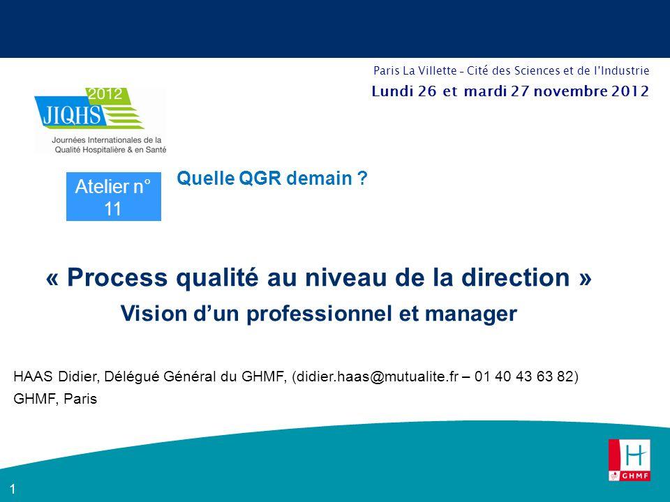 1 « Process qualité au niveau de la direction » Vision dun professionnel et manager HAAS Didier, Délégué Général du GHMF, (didier.haas@mutualite.fr – 01 40 43 63 82) GHMF, Paris Atelier n° 11 Quelle QGR demain .