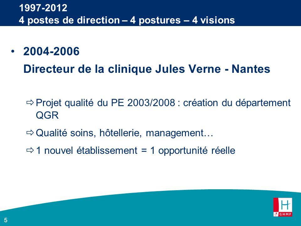 5 1997-2012 4 postes de direction – 4 postures – 4 visions 2004-2006 Directeur de la clinique Jules Verne - Nantes Projet qualité du PE 2003/2008 : création du département QGR Qualité soins, hôtellerie, management… 1 nouvel établissement = 1 opportunité réelle