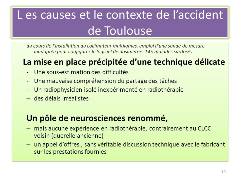 L es causes et le contexte de laccident de Toulouse au cours de linstallation du collimateur multilames, emploi dune sonde de mesure inadaptée pour configurer le logiciel de dosimétrie.