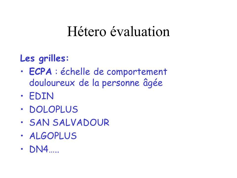 Hétero évaluation Les grilles: ECPA : échelle de comportement douloureux de la personne âgée EDIN DOLOPLUS SAN SALVADOUR ALGOPLUS DN4…..