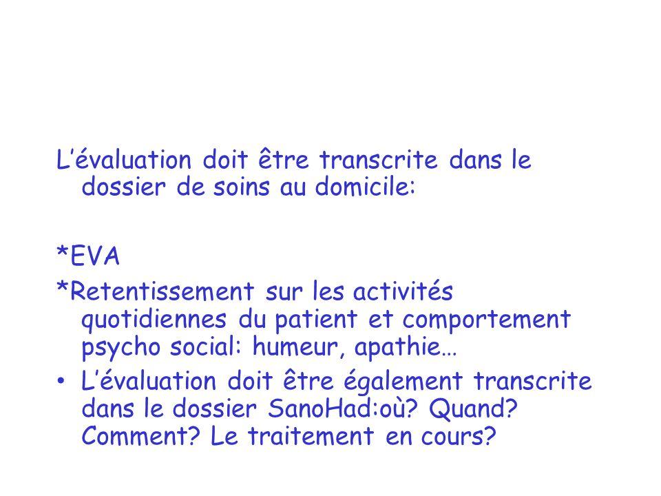 Lévaluation doit être transcrite dans le dossier de soins au domicile: *EVA *Retentissement sur les activités quotidiennes du patient et comportement