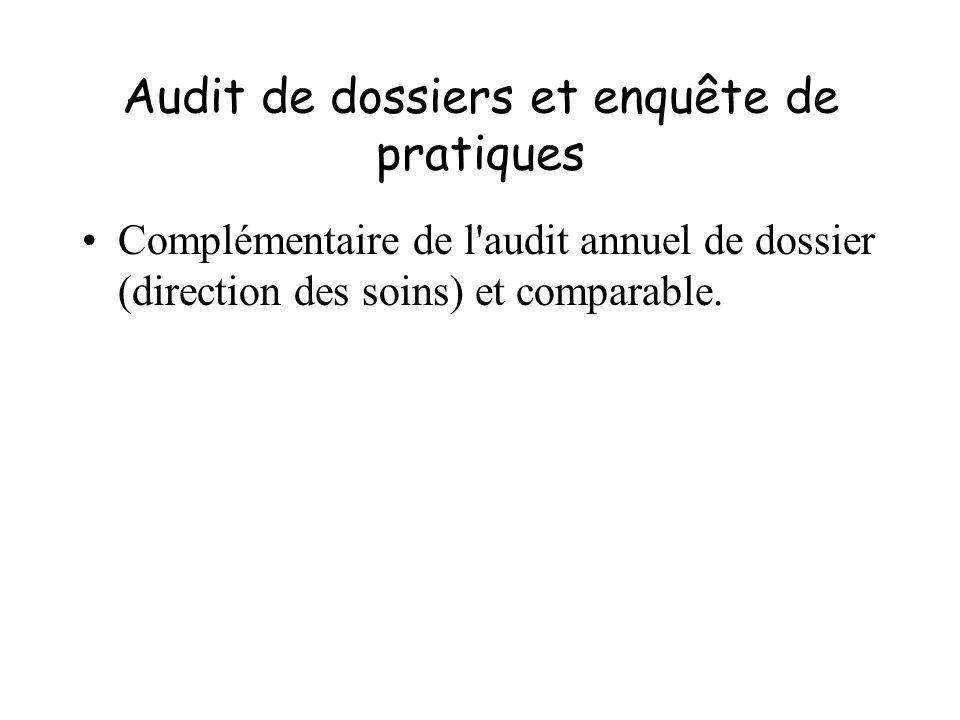 Audit de dossiers et enquête de pratiques Complémentaire de l'audit annuel de dossier (direction des soins) et comparable.
