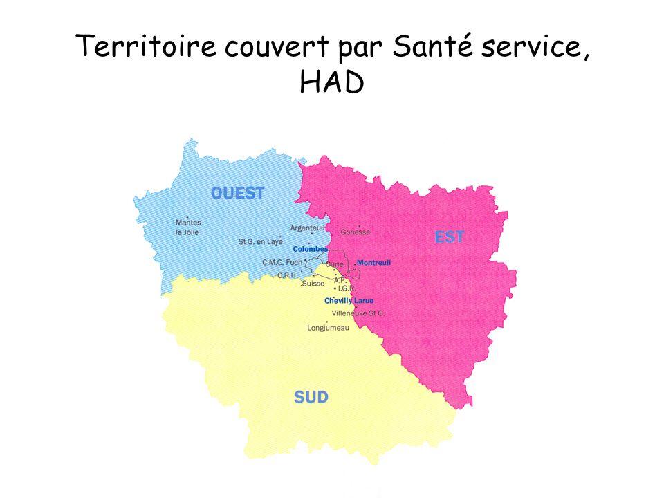 Territoire couvert par Santé service, HAD