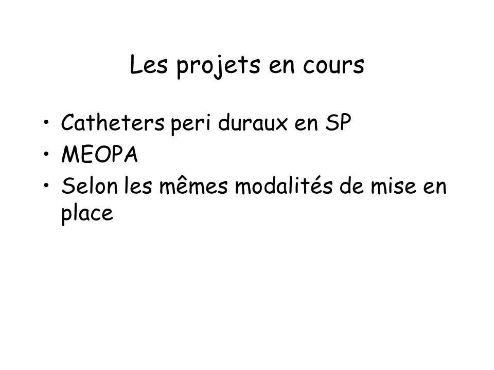 Les projets en cours Catheters peri duraux en SP MEOPA Selon les mêmes modalités de mise en place