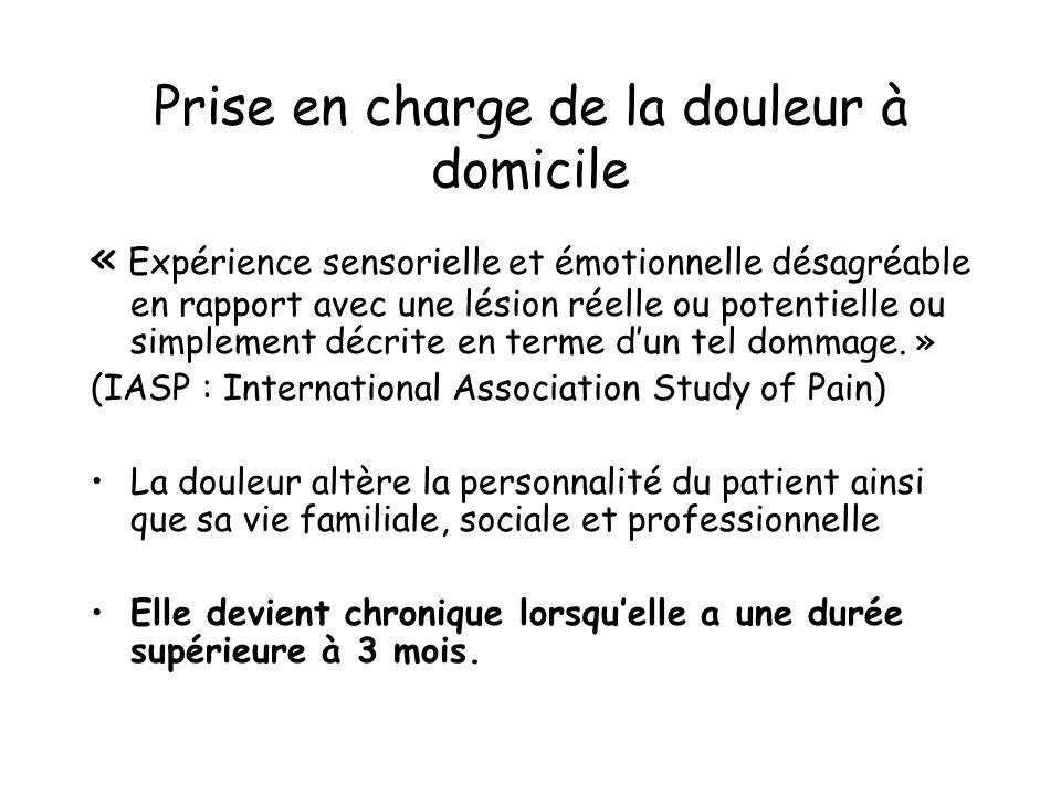 Prise en charge de la douleur à domicile « Expérience sensorielle et émotionnelle désagréable en rapport avec une lésion réelle ou potentielle ou simp