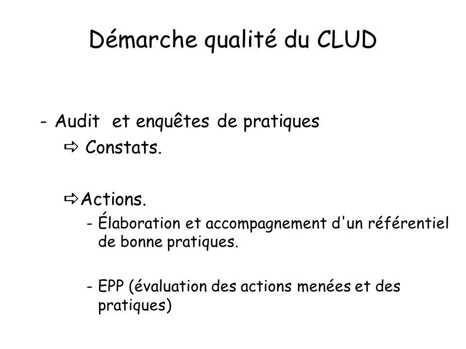 Démarche qualité du CLUD -Audit et enquêtes de pratiques Constats. Actions. -Élaboration et accompagnement d'un référentiel de bonne pratiques. -EPP (