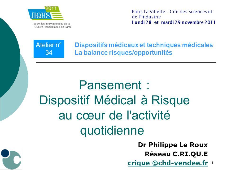 1 Dr Philippe Le Roux Réseau C.RI.QU.E crique @chd-vendee.fr Pansement : Dispositif Médical à Risque au cœur de l'activité quotidienne Paris La Villet