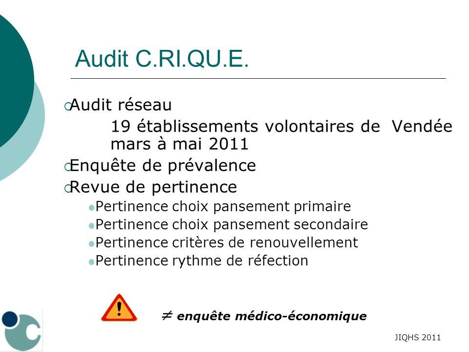 JIQHS 2011 Audit C. RI. QU. E. Audit réseau 19 établissements volontaires de Vendée mars à mai 2011 Enquête de prévalence Revue de pertinence Pertinen