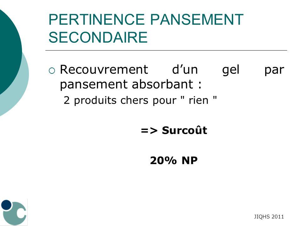 JIQHS 2011 PERTINENCE PANSEMENT SECONDAIRE Recouvrement dun gel par pansement absorbant : 2 produits chers pour