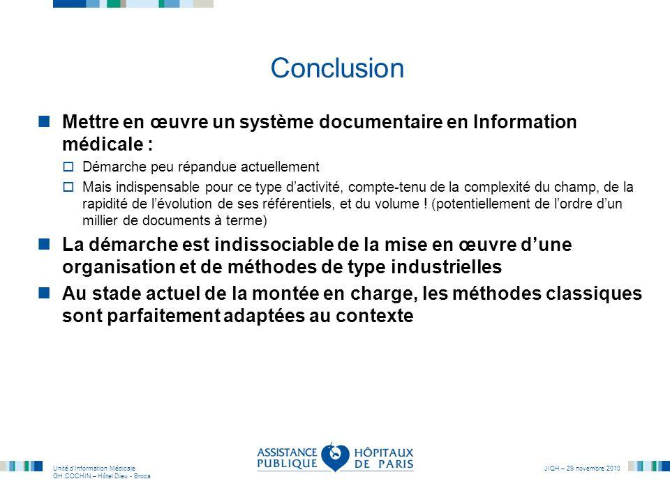 Unité dInformation Médicale GH COCHIN – Hôtel Dieu - Broca JIQH – 29 novembre 2010 Conclusion Mettre en œuvre un système documentaire en Information m