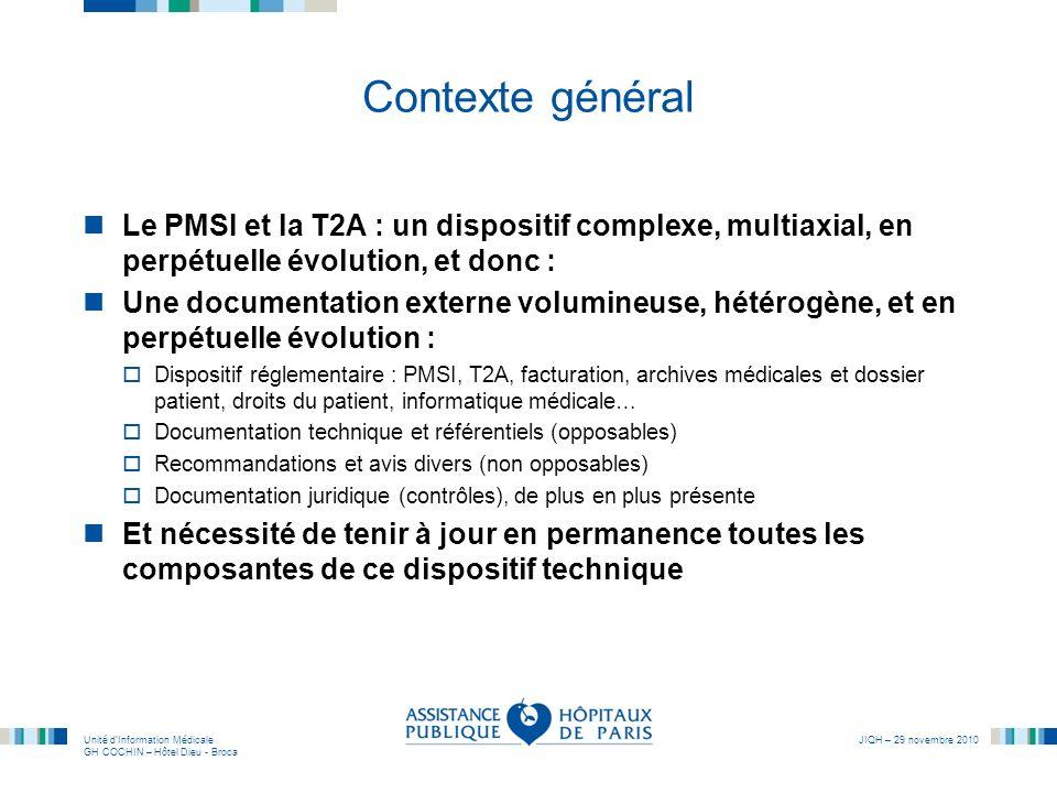Unité dInformation Médicale GH COCHIN – Hôtel Dieu - Broca JIQH – 29 novembre 2010 Contexte général Le PMSI et la T2A : un dispositif complexe, multia