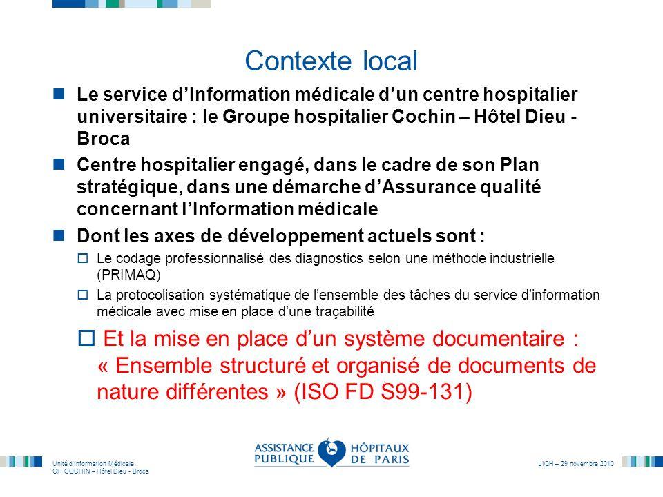 Unité dInformation Médicale GH COCHIN – Hôtel Dieu - Broca JIQH – 29 novembre 2010 Contexte local Le service dInformation médicale dun centre hospital