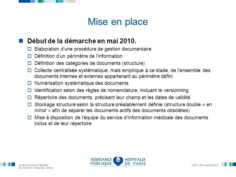 Unité dInformation Médicale GH COCHIN – Hôtel Dieu - Broca JIQH – 29 novembre 2010 Mise en place Début de la démarche en mai 2010. Elaboration dune pr